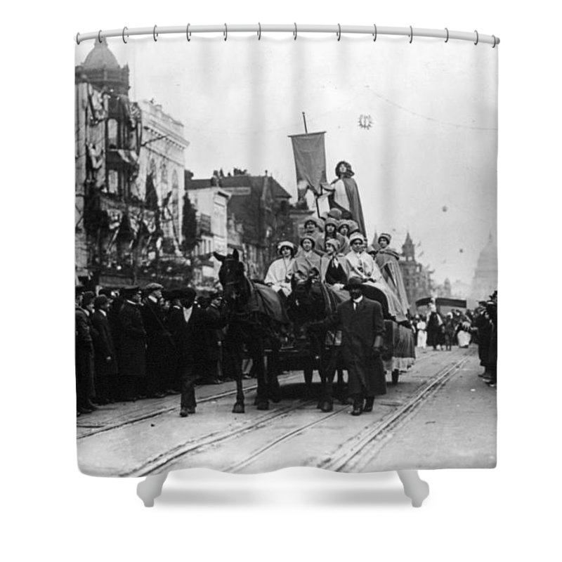 1913 Shower Curtain featuring the photograph Suffrage Parade, 1913 by Granger