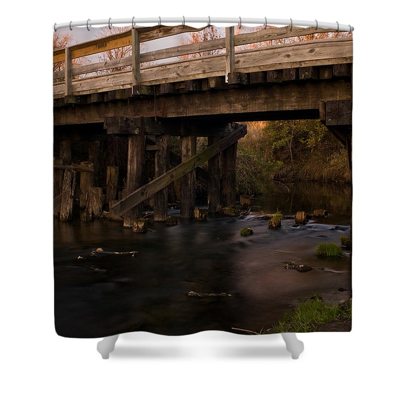 Bike Shower Curtain featuring the photograph Sugar River Trestle Wisconsin by Steve Gadomski