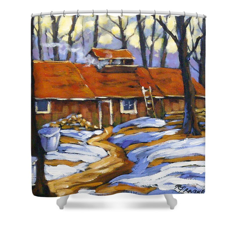 Sugar Shack Shower Curtain featuring the painting Sugar Time by Richard T Pranke