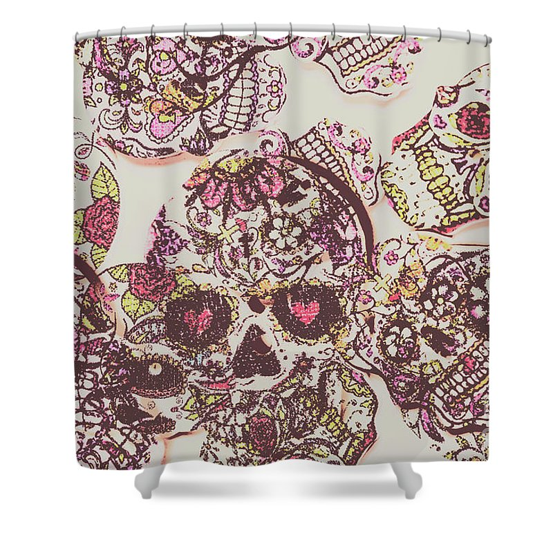 Sugarskull Punk Patchwork Shower Curtain For Sale By Jorgo