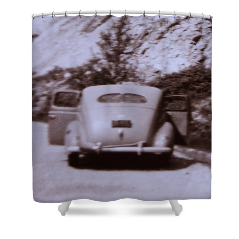 Old Cars Suicide Doors Antique Old Photo Car 1950 Automobile Classic Shower Curtain featuring the photograph Suicide Doors by Andrea Lawrence