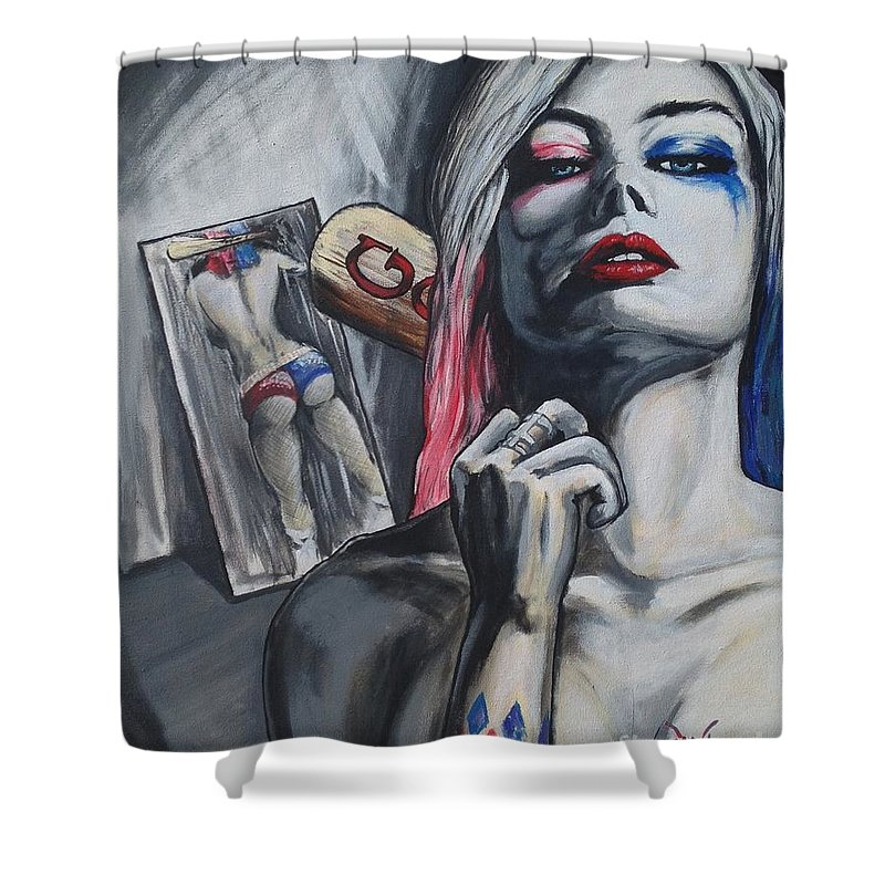 Harley Shower Curtain Featuring The Painting Suicide Squad Quinn By Tyler Haddox