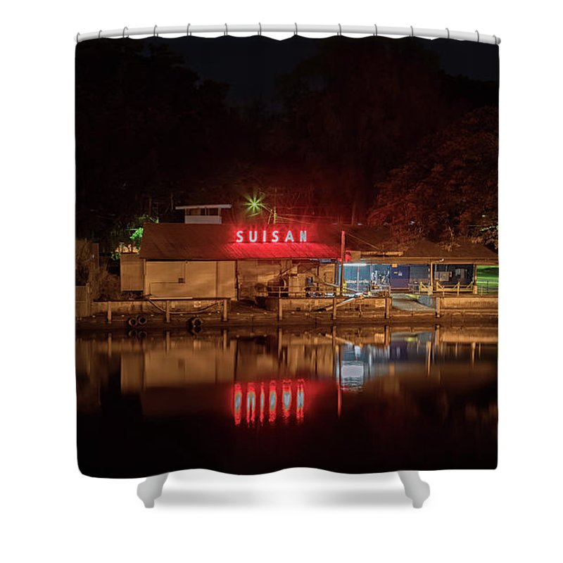 Suisan Fish Market Shower Curtain featuring the photograph Suisan Fish Market At Night by Susan Rissi Tregoning
