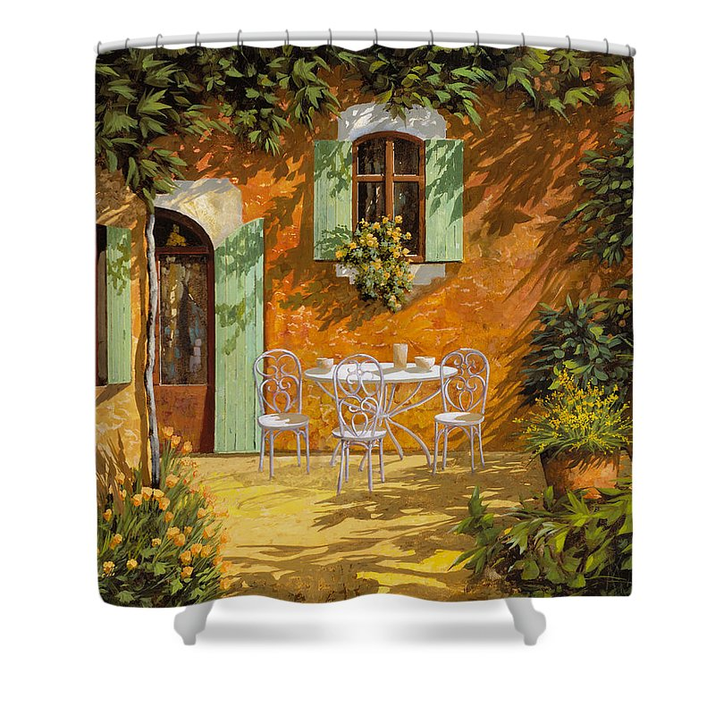 Quiete Shower Curtain featuring the painting Sul Patio by Guido Borelli