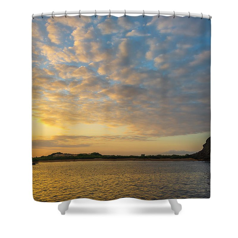 Galapagos Islands Shower Curtain featuring the photograph Sullivan Bay Sunrise by Jess Kraft