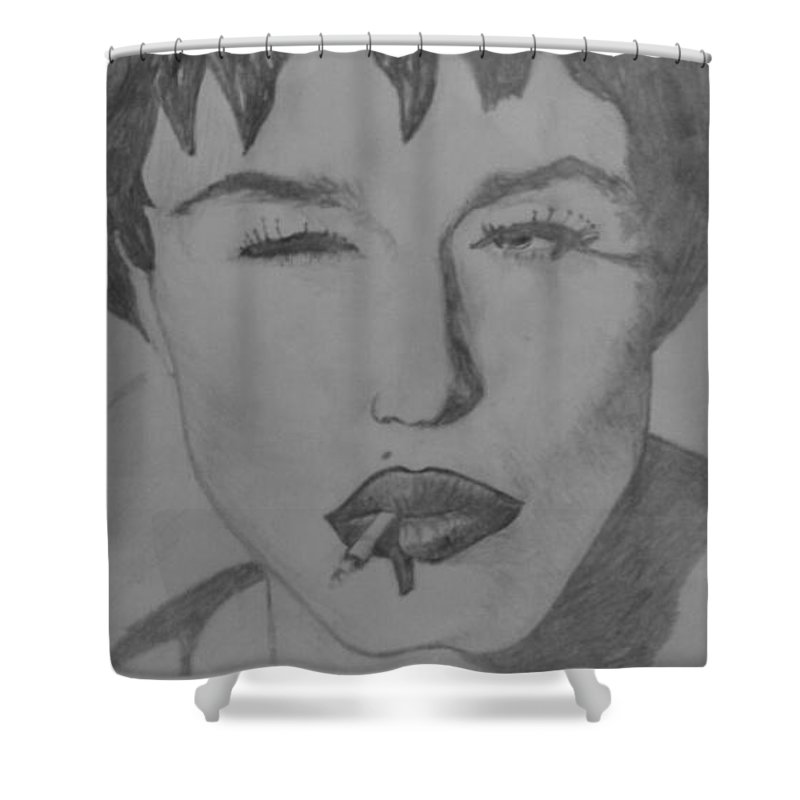 Madonna Sultry Shower Curtain featuring the drawing Sultry Madonna by Paul Gibbins