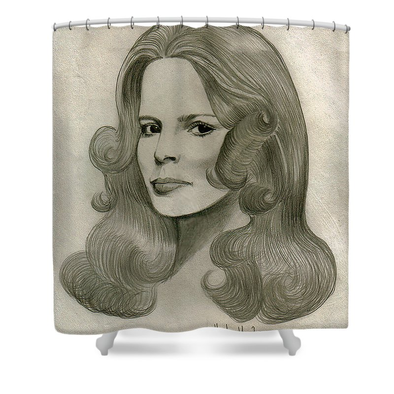 Drawing Shower Curtain featuring the drawing Sultry Smile by Marco Morales