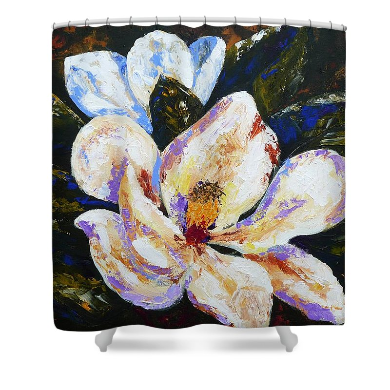 White Flowers Shower Curtain featuring the painting Sultry Southern Nights by Patti Bean