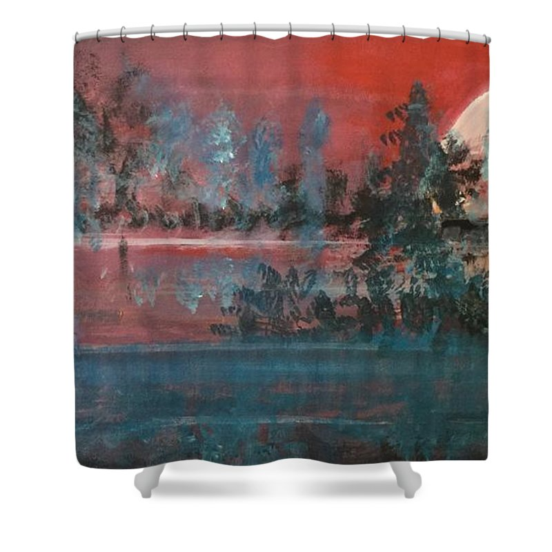 Sunsets Shower Curtain featuring the mixed media Sultry Sunset by Walter M Davis