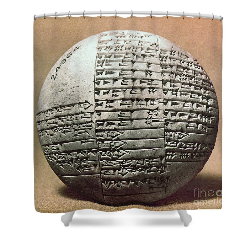 1980 B.c. Shower Curtain featuring the photograph Sumerian Cuneiform by Granger