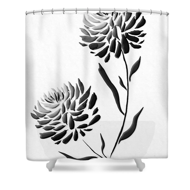 Flower Shower Curtain Featuring The Painting Sumi E