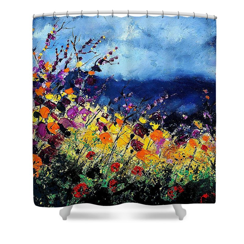 Poppy Shower Curtain featuring the painting Summer 45 by Pol Ledent