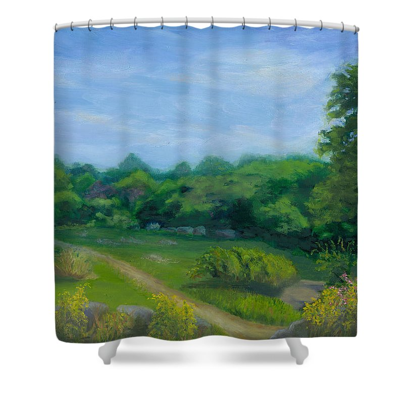 Landscape Shower Curtain featuring the painting Summer Afternoon At Ashlawn Farm by Paula Emery