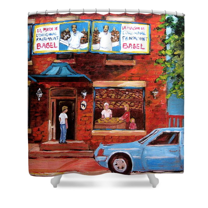Fairmount Bagel Shower Curtain featuring the painting Summer At Fairmount by Carole Spandau