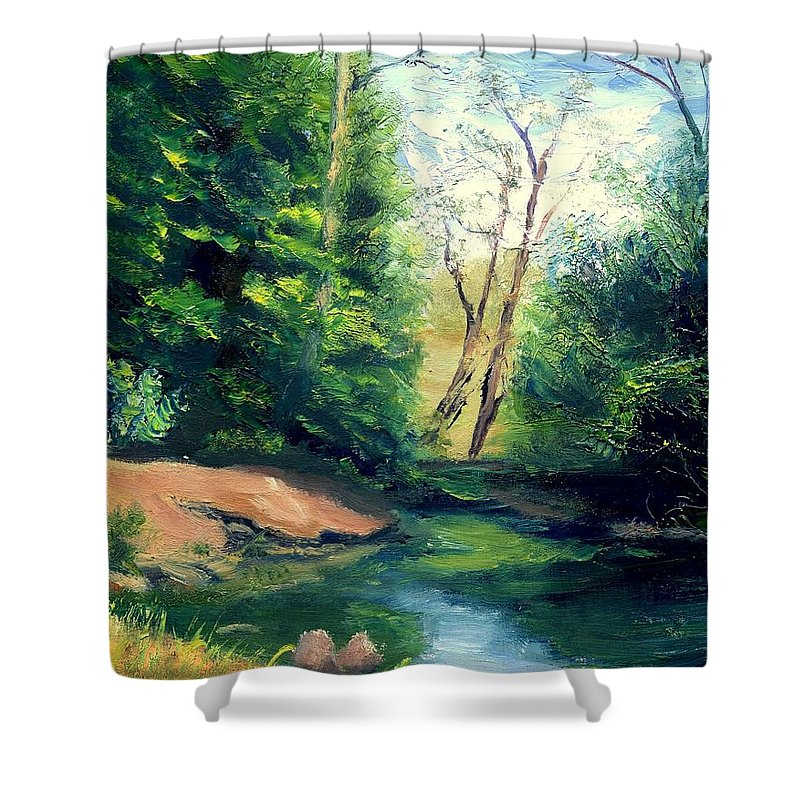Landscape Shower Curtain featuring the painting Summer At Storm by Gail Kirtz