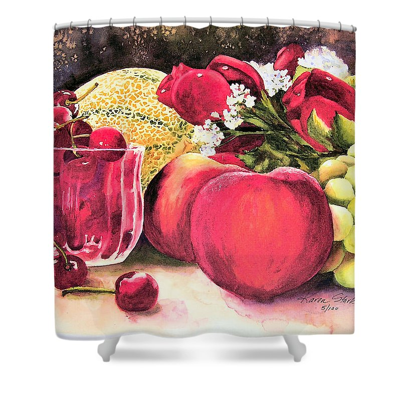 Cherries Shower Curtain featuring the painting Summer Bounty by Karen Stark