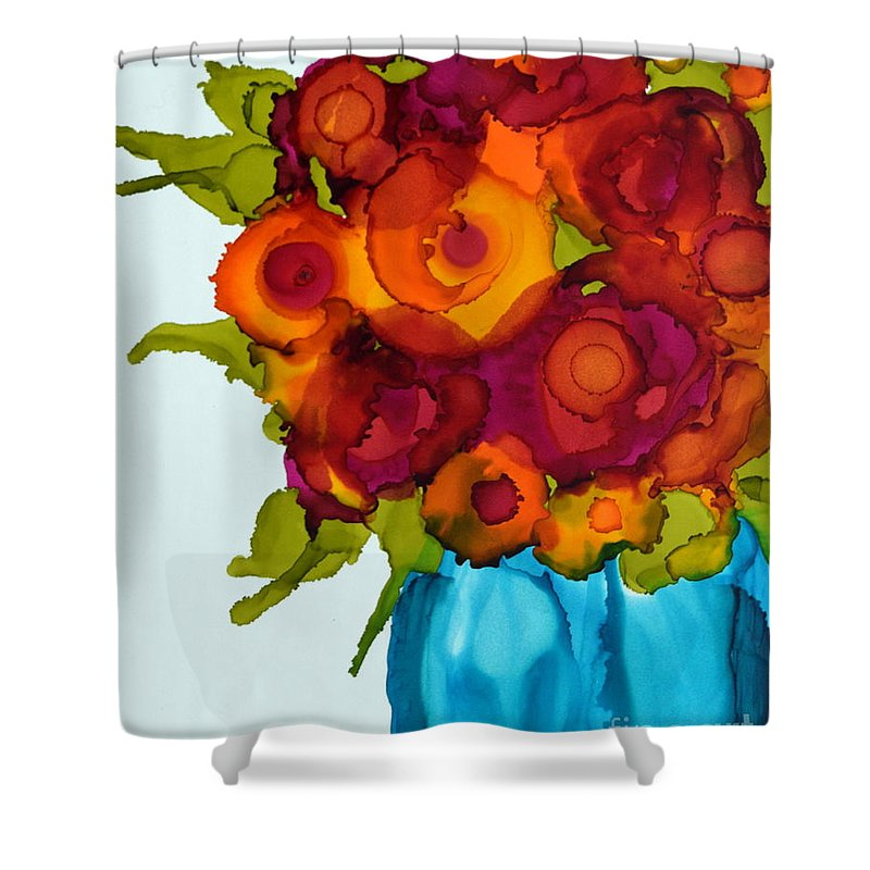 Floral Shower Curtain featuring the painting Summer Bouquet by Beth Kluth
