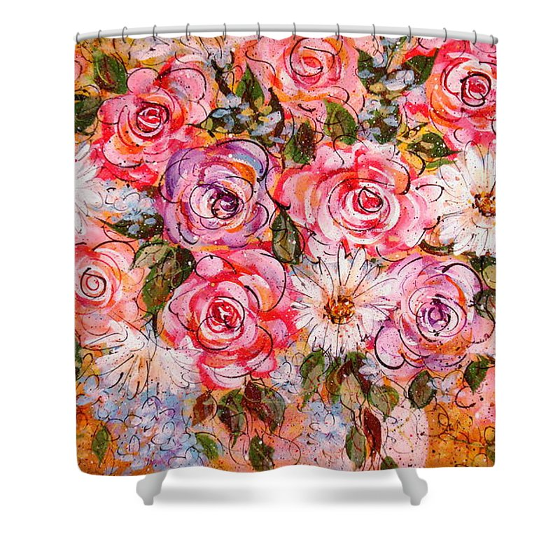 Flowers Shower Curtain featuring the painting Summer Bouquet by Natalie Holland