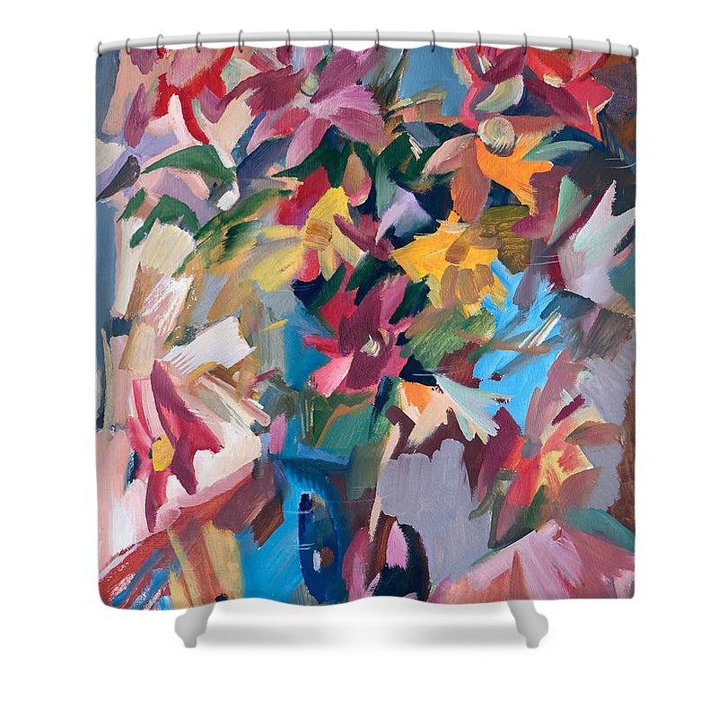 Flowers Shower Curtain featuring the painting Summer Bouquet by Nikolay Malafeev