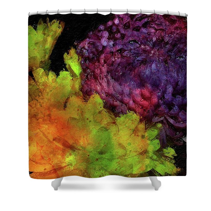 Flowers Shower Curtain featuring the painting Summer Contrast by Jamie Holbrook