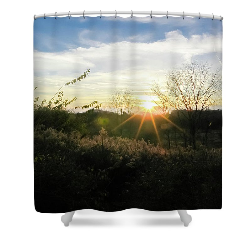 Sunny Day Shower Curtain featuring the photograph Summer Day Going Into Evening. by Amy Bishop