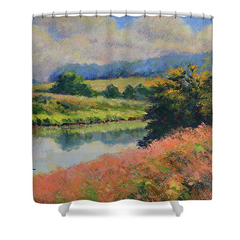 Impressionism Shower Curtain featuring the painting Summer Day by Keith Burgess