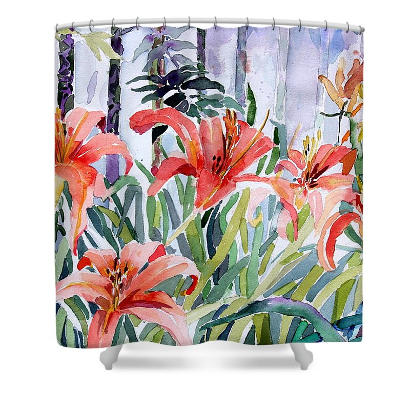 Day Lily Shower Curtain featuring the painting My Summer Day Liliies by Mindy Newman
