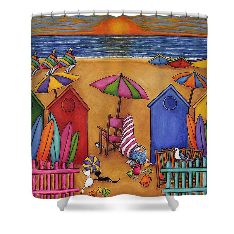Summer Shower Curtain featuring the painting Summer Delight by Lisa Lorenz