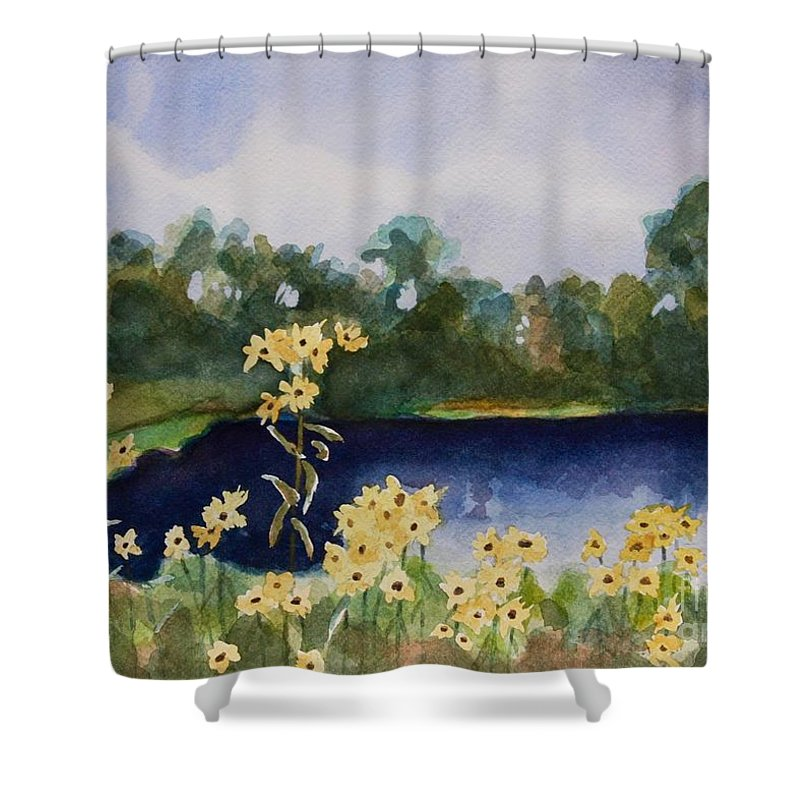 Flowers Shower Curtain featuring the painting Summer Flowers by Jan Bennicoff