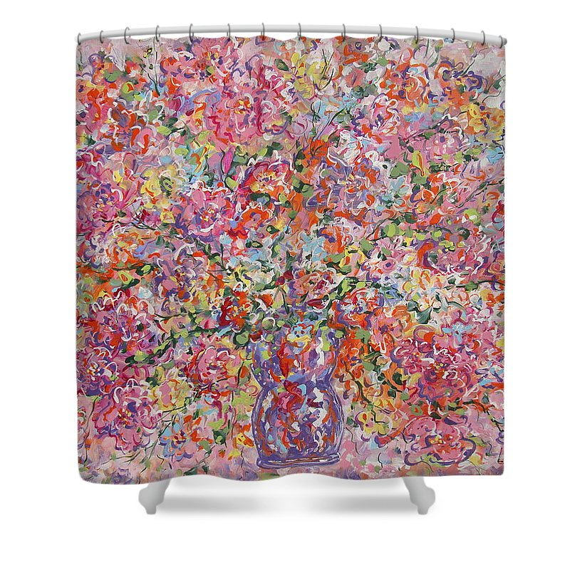 Painting Shower Curtain featuring the painting Summer Flowers by Leonard Holland