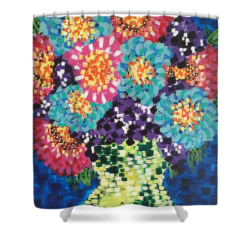 Flowers Shower Curtain featuring the painting Summer Flowers by Noel Marie