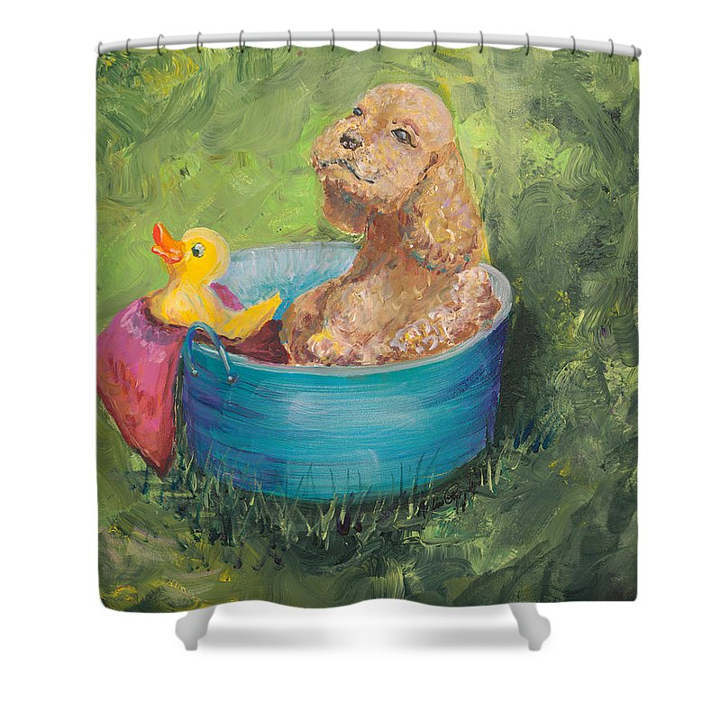 Dog Shower Curtain featuring the painting Summer Fun by Nadine Rippelmeyer