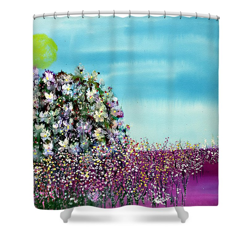 Painting Shower Curtain featuring the painting Summer Horizon by Don Wright