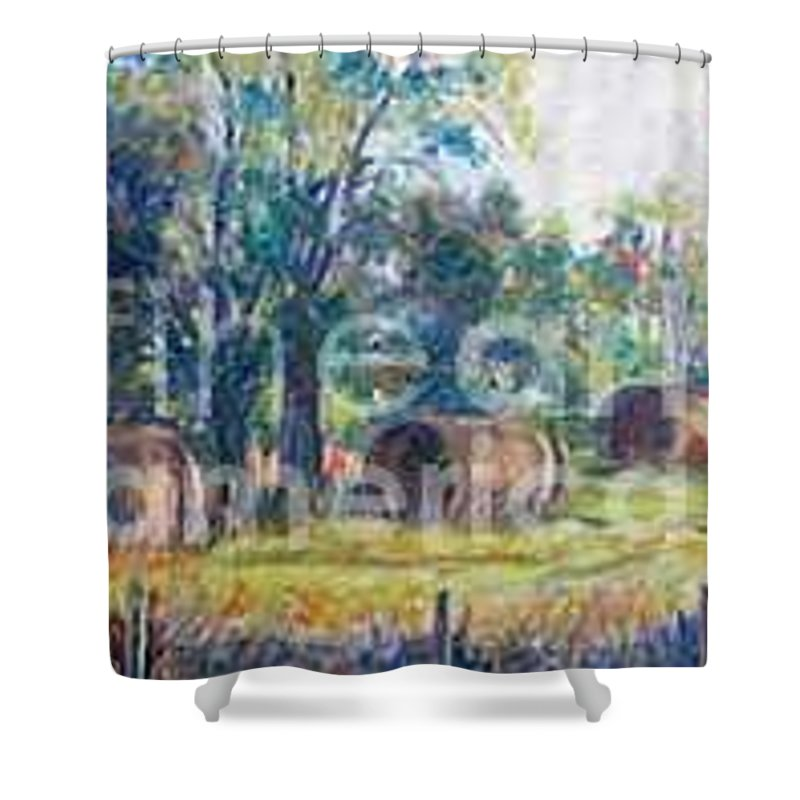 Landscape Shower Curtain featuring the painting Summer Idyll by Jan Bennicoff