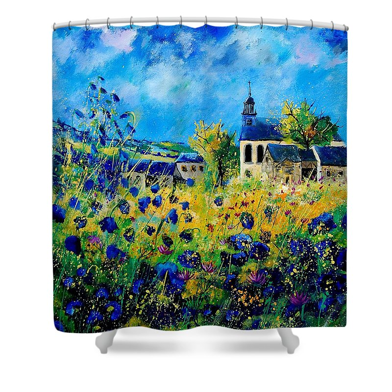 Poppies Shower Curtain featuring the painting Summer In Foy Notre Dame by Pol Ledent