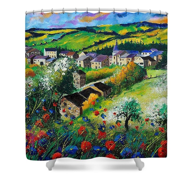 Poppies Shower Curtain featuring the painting Summer In Rochehaut by Pol Ledent