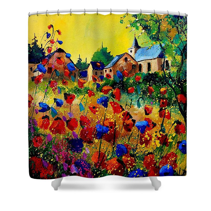 Poppy Shower Curtain featuring the painting Summer In Sosoye by Pol Ledent