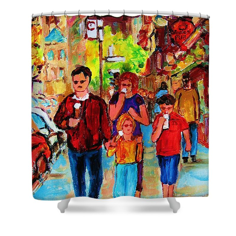 Montreal Streetscenes Shower Curtain featuring the painting Summer In The City by Carole Spandau
