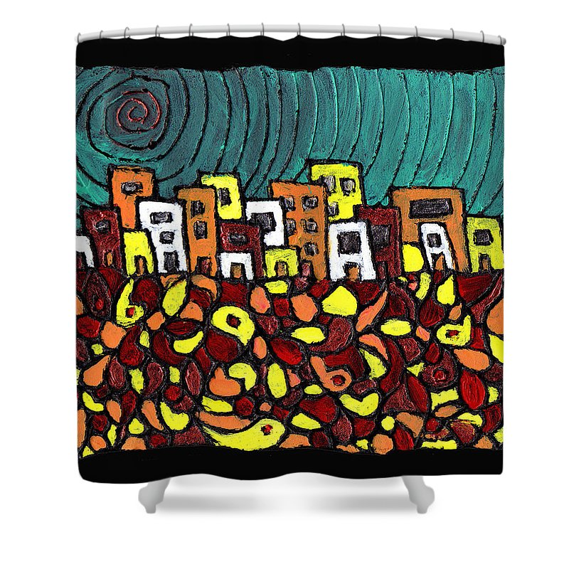 City Shower Curtain featuring the painting Summer In The City by Wayne Potrafka