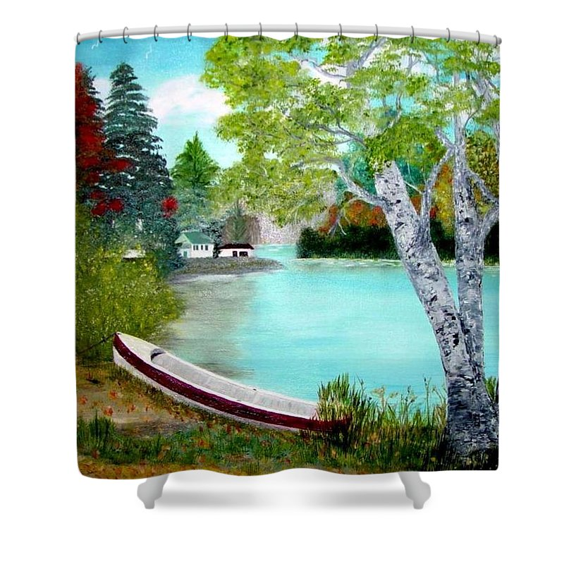 Beautiful Bracebridge Ontario Oil Painting Shower Curtain featuring the painting Summer In The Muskoka's by Peggy Holcroft