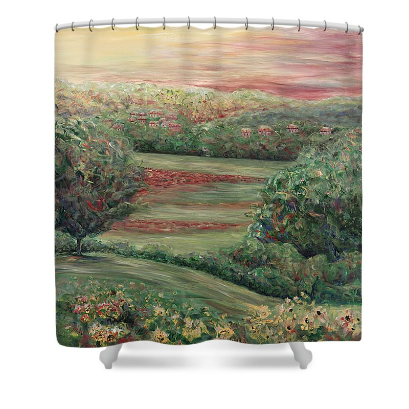 Landscape Shower Curtain featuring the painting Summer In Tuscany by Nadine Rippelmeyer