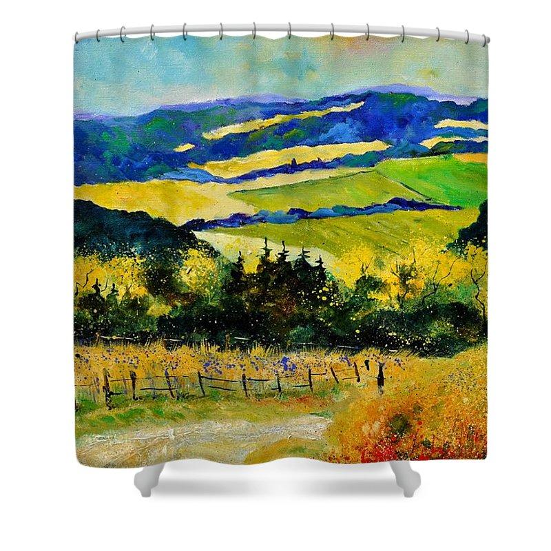 Landscape Shower Curtain featuring the painting Summer Landscape by Pol Ledent