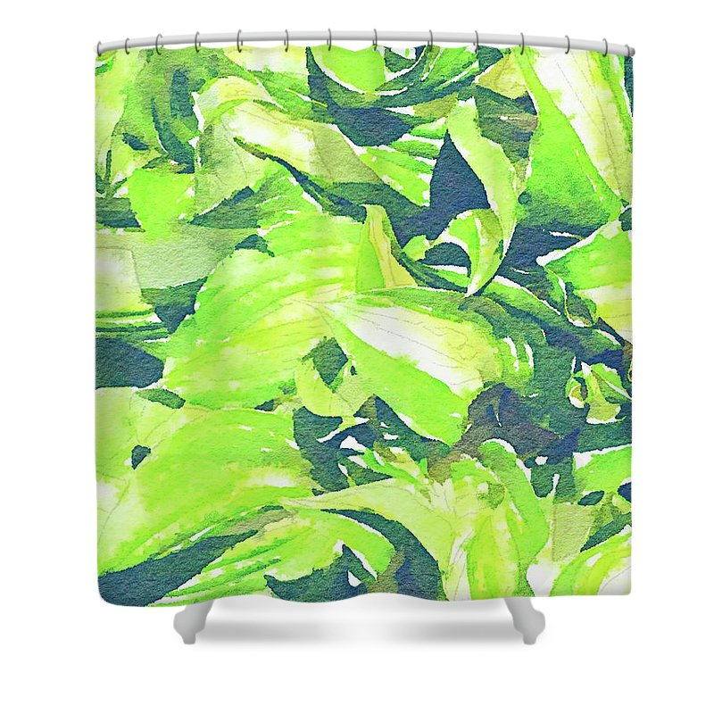 Flowers Shower Curtain featuring the painting Summer Leaves by Jamie Holbrook