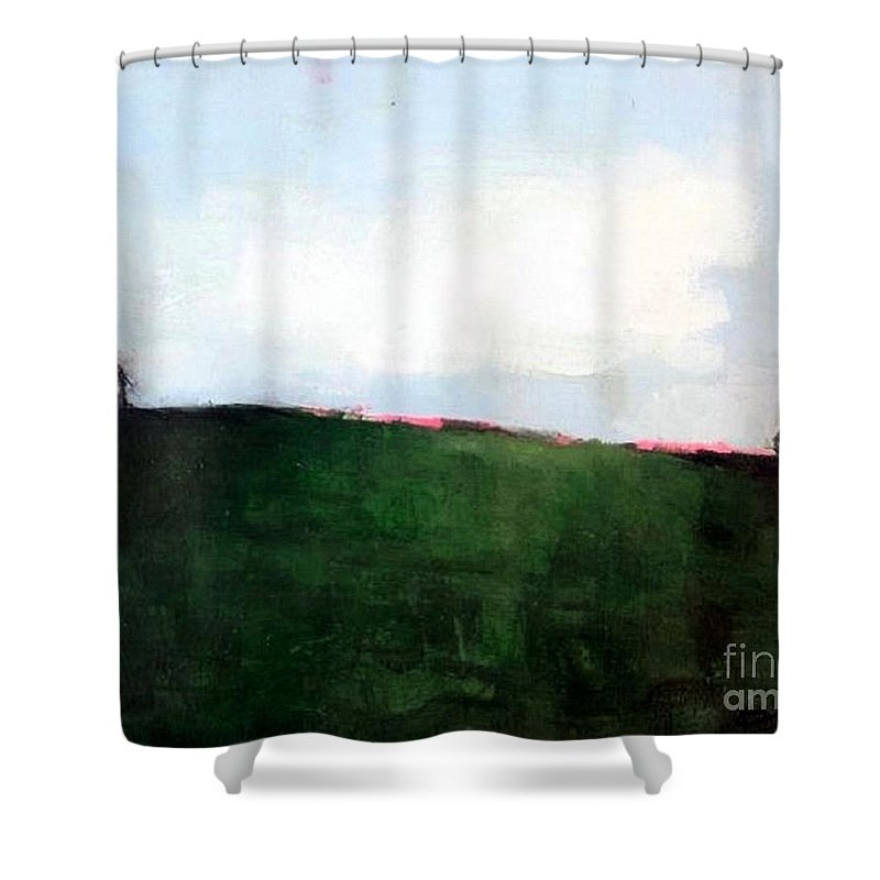 Abstract Landscape Shower Curtain featuring the painting Summer Memories by Vesna Antic