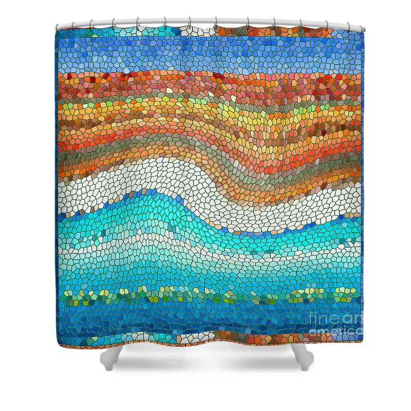 Colorful Shower Curtain featuring the digital art Summer Mosaic by Melissa A Benson
