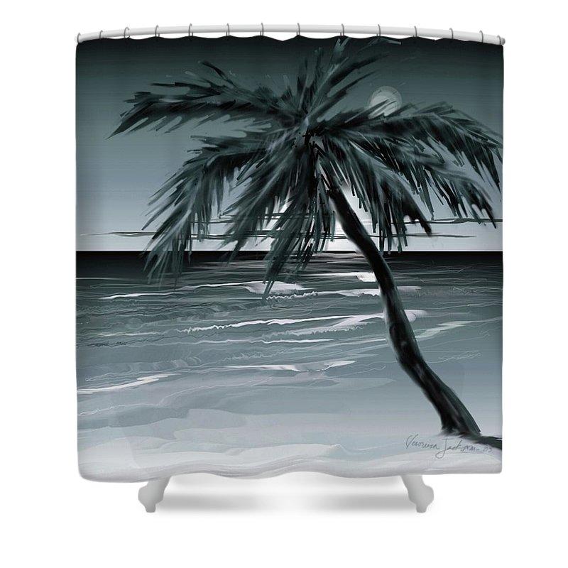 Water Beach Sea Ocean Palm Tree Summer Breeze Moonlight Sky Night Shower Curtain featuring the digital art Summer Night In Florida by Veronica Jackson