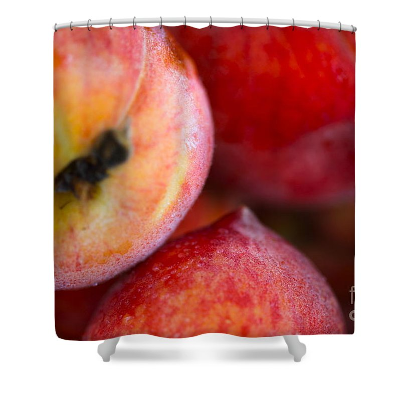 Peach Shower Curtain featuring the photograph Summer Peaches by Nadine Rippelmeyer