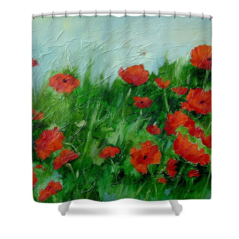 Red Poppies Shower Curtain featuring the painting Summer Poppies by Ginger Concepcion