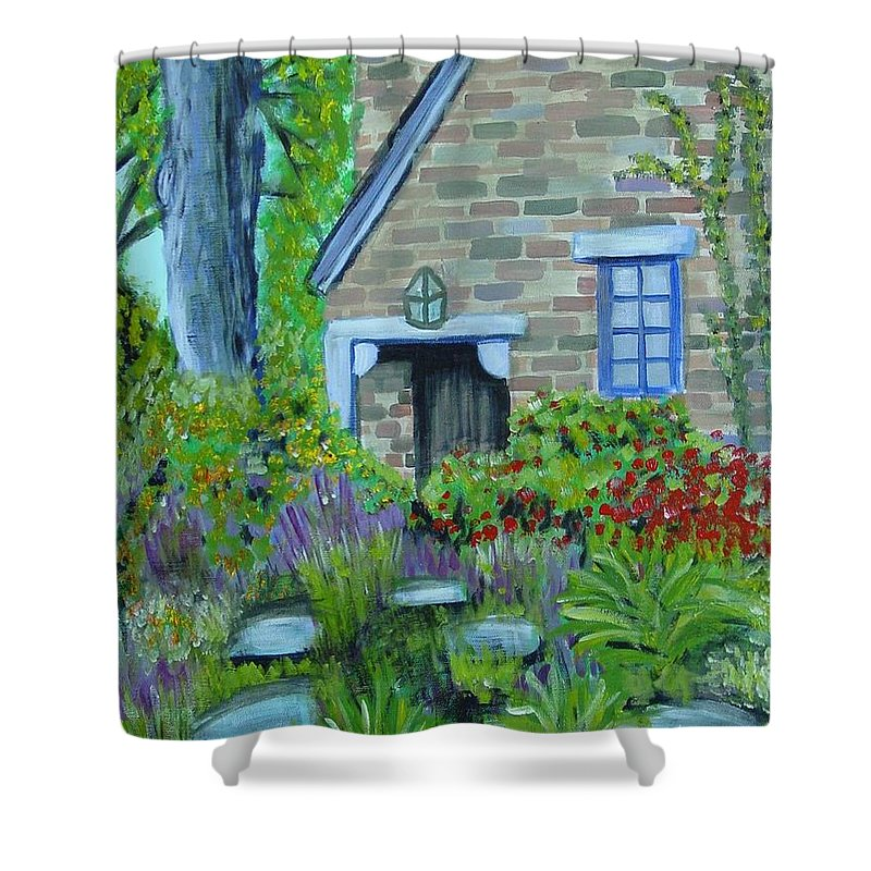 Cottage Shower Curtain featuring the painting Summer Retreat by Laurie Morgan