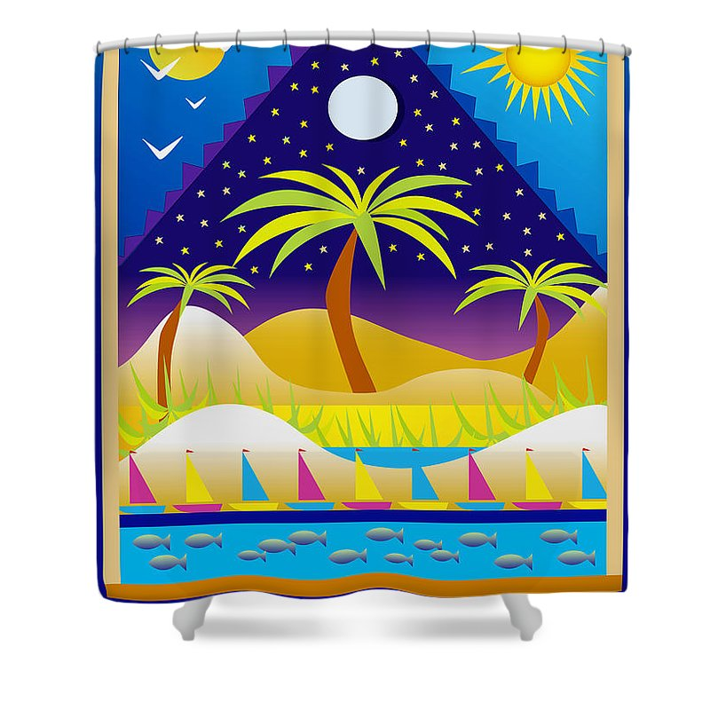 Water Scape Shower Curtain featuring the digital art Summer Serenity by Nancy Griswold